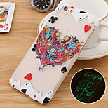 Hearts Poker Pattern PC Material Luminous Phone Case for iPhone 6 /6S