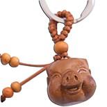 Duo Ji Mi ® Pig Head Date Wood Carving Key Chain