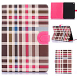 Grid Pattern PU Leather Full Body Tablet Protection Case with Card Bag for iPad Air 2