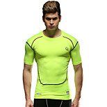 Running Compression Clothing / Tops Men's Short Sleeve Breathable Running Sports Sports Wear Tight Green M / L / XL
