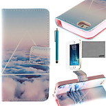 LEXY® Triangle Cloud Pattern PU Full Body Leather Case with Screen Protector and Stylus for iPhone 5/5S