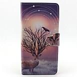 Finger Buckle Deer Painted PU Phone Case for Huawei P8 Lite