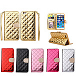 Luxury Bling Diamond Button Check Shiny Surface PU Leather Wallet Stand Case For iPhone 6/6S (Assorted Color)