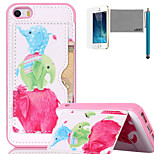 LEXY® Cute Elephant Family Pattern Soft TPU Back Case with Screen Protector and Stylus for iPhone 5/5S