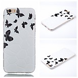 White And Black ButterflyPattern Phone Shell Thin TPU Material for iPhone 6/6S