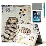 lexy® torre inclinada de pisa patrón de la PU del caso del soporte del tirón del cuero con protector de pantalla y el stylus para el aire