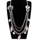 Sliver Leaf Chain Statement Necklace