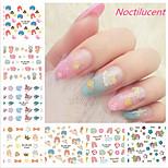 12pcs Gemini Cartoon Rabbit Luminous Nail Stickers