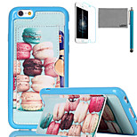 LEXY® Colorful Macarons Pattern Soft TPU Back Case with Screen Protector and Stylus for iPhone 6/6S