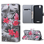 Red Flowers Wallet Leather Stand Case for Acer Liquid Z630 Z630s (5.5 inch)
