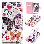 Colorful Butterfly Embossed PU Leather Holster for iPhone 5/5S