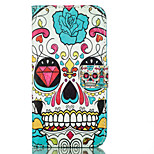 cráneo de la PU billetera de cuero con el soporte de la tarjeta y el soporte para el iPhone 5 5s 5SE 6 6s 6plus 6splus