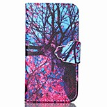 Finger Buckle Tree Painted PU Phone Case for iphone4/4S