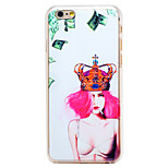 Money Cigarette Sexy Girl Pattern Transparent PC Back Cover for iPhone 6