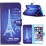 Embossed Coloured Drawing or Pattern PU Leather Case with Magnetic Snap and Card Slot for iPhone 5/5S