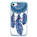 2-in-1 Campanula Blue Feathers Pattern TPU Back Cover with PC Bumper Shockproof Soft Case for iPhone 5/5S