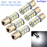 youoklight®6pcs 3W 260lm 18 x SMD 5050 leidde witte auto signaal licht / besturing lamp - (12V)