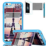LEXY® Eiffel Tower Map Pattern Soft TPU Back Case with Screen Protector and Stylus for iPhone 6/6S