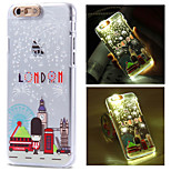 Lodon Eiffer Tower City Pattern LCD Sense Flash Light Back Cover Case for iPhone 6/6S