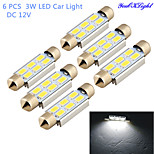 YouOKLight®  6 PCS Festoon 42mm 3W 260lm 6 x SMD 5630 LED White Light Decoding Car Reading Lamp Dome Bulb (DC12V)