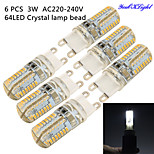 youoklight® 6PCS G9 3W 300lm 6000K 64-SMD 3014 LED White Light Corn Bulb/Crystal Lamp Bead (AC 220-240V)