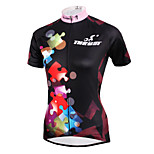 ilpaladinoSport Women Short Sleeve Cycling Jersey New Style Distinctive  DX587 Puzzle 100% Polyester
