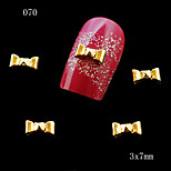 10pcs 3D Rhinestone Alloy Metal Nail Art Tips Glitters Decoration Golden Bowknot Lovely 3*7mm