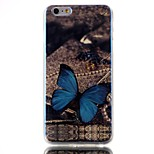Blue butterfly Pattern Blu-ray TPU Soft Back Cover Case for  iPhone 6/6S