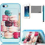 lexy® macarons colorati modello tpu posteriore caso con la protezione dello schermo e lo stilo per iPhone 5 / 5s