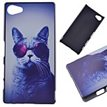 Glasses Cat Pattern PC Hard Cover Case for Sony Xperia Z5 Compact