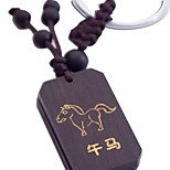 Duo Ji Mi ® 12 Zodiac Horse Scripture Ebony Sculpture Key Chain