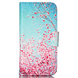 Pink Plum Pattern PU Leather Full Body Cover with Stand for iPhone 5/iPhone 5S