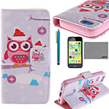 LEXY® Santa Owl Lover Pattern PU Full Body Leather Case with Screen Protector and Stylus for iPhone 5C
