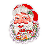 A Pair Merry Christmas Flocking Santa Claus Head 3D Wall Stickers Wall Decals  Design is Random