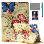 retro padrão de carimbo de borboleta caso lexy® estande pu aleta de couro com protetor de tela e caneta para iPad mini 4