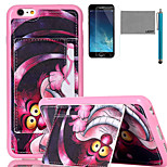 LEXY® Purple Cartoon Cat Pattern Soft TPU Case with Screen Protector and Stylus for iPhone 6/6S Plus