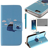 LEXY® Whale & Elephants Pattern PU Full Body Leather Case with Screen Protector and Stylus for iPhone 5/5S