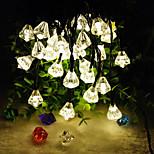 nytt produkt 6.5m 30led diamantform solcellejule hjem innredning streng lys (30led Varm hvit)