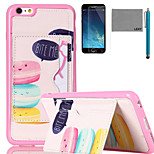 LEXY® Pink Macarons Pattern Soft TPU Case with Screen Protector and Stylus for iPhone 6/6S Plus