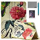 lexy® China Rose motif de tampon PU cas de stand en cuir flip avec protecteur d'écran et un stylet pour iPad mini-4