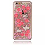 Rabbit Pattern Transparent 3D Love Stereoscopic Quicksand PC Material Phone Case for iPhone 6/6S