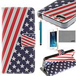 lexy® USA-Flagge-Muster PU-Ganzkörper-Ledertasche mit Displayschutzfolie und Schreibkopf für iphone 5 / 5s