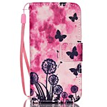 Butterfly Pattern PU Material Card Lanyard Case for iPhone 5C
