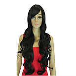 Capless Black Long High Quality Natural Curly Synthetic Wig with Side Bang