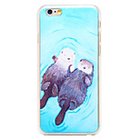 Cute Otter Pattern Transparent PC Back Cover for iPhone 6