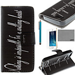 LEXY® Black Word Pattern PU Full Body Leather Case with Screen Protector and Stylus for iPhone 5/5S