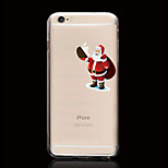 Cartoon Santa Claus Pattern Ultrathin Transparent TPU Soft Back Cover Case for iPhone 6/6S