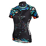 ilpaladinoSport Women Short Sleeve Cycling Jersey New Style Distinctive  DX587 Black Reindeer 100% Polyester