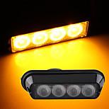 Alta potencia 4W 4 LED impermeable de color ámbar luz de flash estroboscópico emergencia camión auto