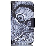 Finger Buckle Owl Painted PU Phone Case for iphone4/4S